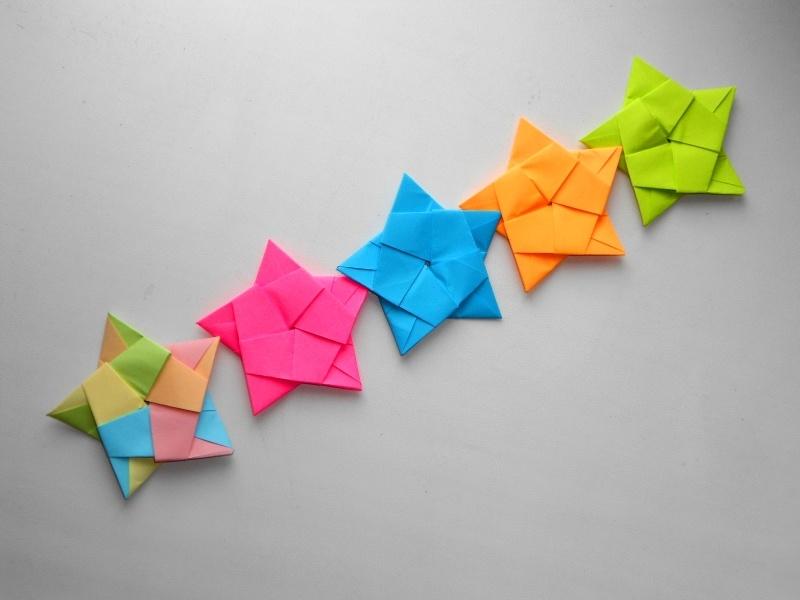 Красивая гирлянда из бумаги. Новогодние поделки оригами своими руками - фото 1